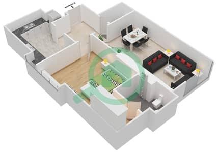 المخططات الطابقية لتصميم النموذج B شقة 1 غرفة نوم - ماج 230