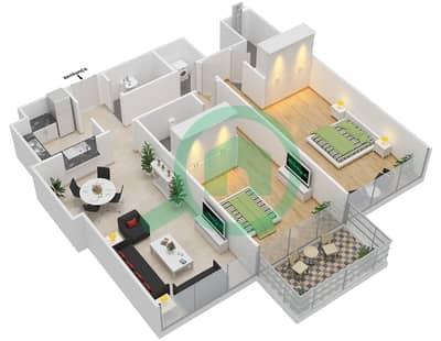 المخططات الطابقية لتصميم النموذج C شقة 2 غرفة نوم - ماج 230