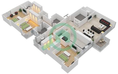 المخططات الطابقية لتصميم النموذج D شقة 3 غرف نوم - ماج 230
