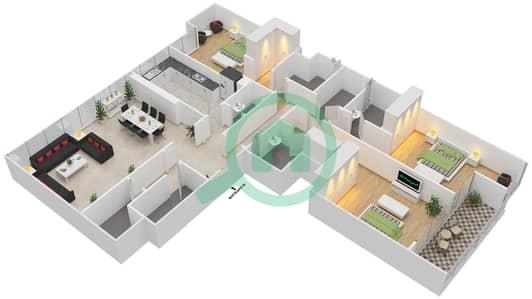المخططات الطابقية لتصميم النموذج E شقة 3 غرف نوم - ماج 230