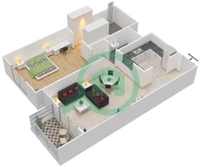 المخططات الطابقية لتصميم النموذج B شقة 1 غرفة نوم - ماي رزدنس