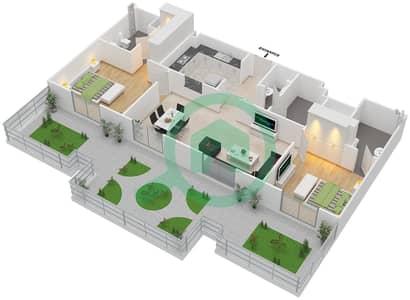 المخططات الطابقية لتصميم النموذج C شقة 2 غرفة نوم - ماي رزدنس
