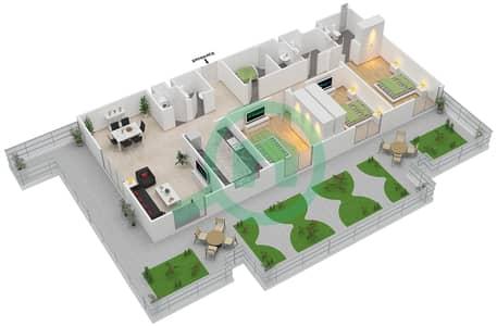 المخططات الطابقية لتصميم النموذج D شقة 3 غرف نوم - ماي رزدنس