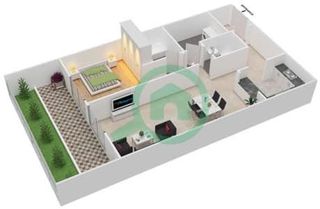 المخططات الطابقية لتصميم النموذج / الوحدة 1 شقة 1 غرفة نوم - بانثيون بوليفارد