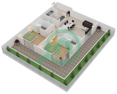 المخططات الطابقية لتصميم النموذج / الوحدة 1 شقة 2 غرفة نوم - بانثيون بوليفارد