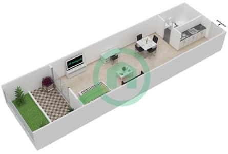 المخططات الطابقية لتصميم النموذج / الوحدة 1 شقة  - بانثيون بوليفارد
