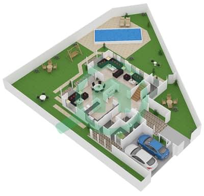 المخططات الطابقية لتصميم النموذج B1 فیلا 3 غرف نوم - نسيم