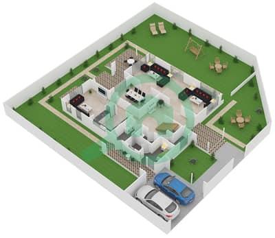 المخططات الطابقية لتصميم النموذج A1 فیلا 4 غرف نوم - نسيم