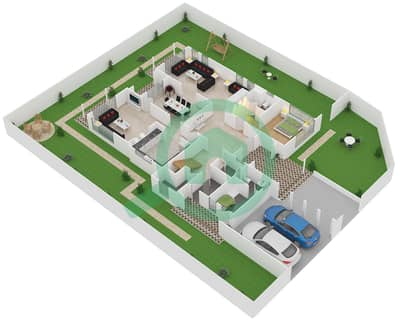 المخططات الطابقية لتصميم النموذج A2 فیلا 5 غرف نوم - نسيم