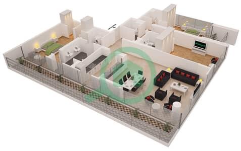 Al Sahab Tower 2 - 3 Bedroom Penthouse Suite PH 02 Floor plan