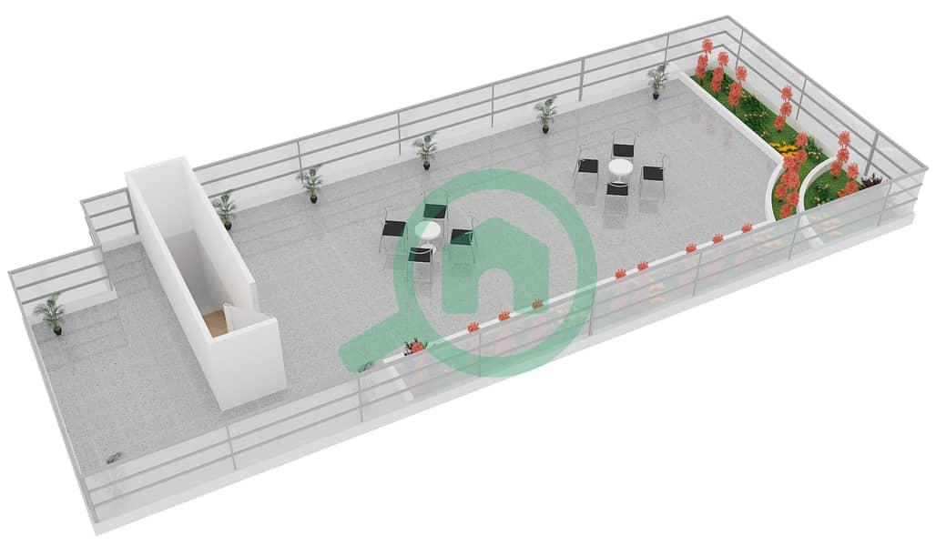 المخططات الطابقية لتصميم النموذج B1 FLOOR 5 شقة 2 غرفة نوم - الكوف Floor 5 Upper 3D
