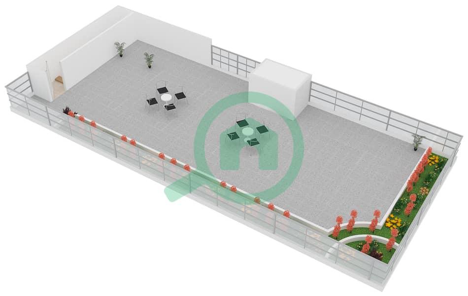 المخططات الطابقية لتصميم النموذج B6 FLOOR 5 شقة 2 غرفة نوم - الكوف Floor 5 Upper 3D
