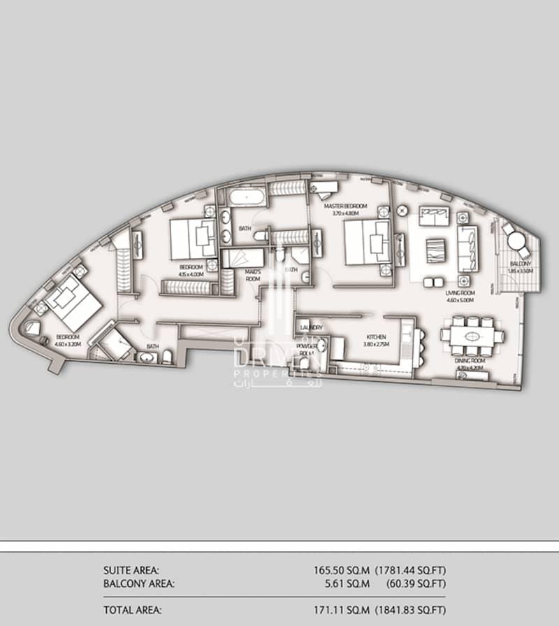 15 Corner Unit 3 Bedroom Plus Maid Burj View