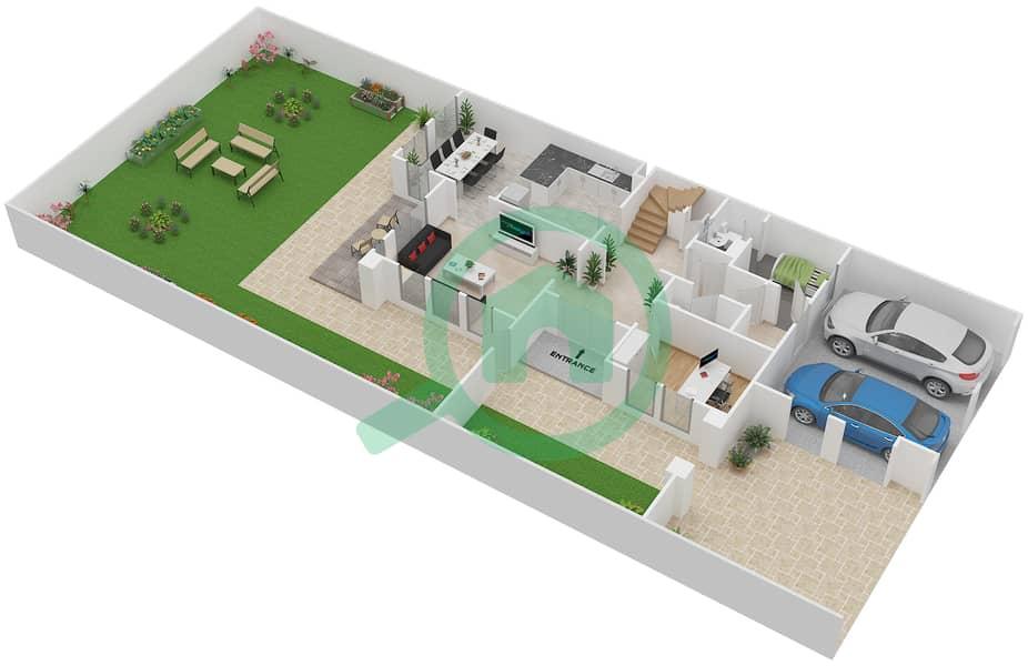 المخططات الطابقية لتصميم النموذج 1E فیلا 3 غرف نوم - الينابيع 10 Ground Floor image3D