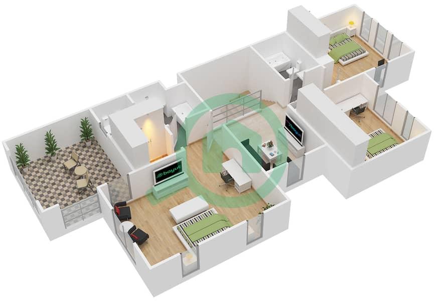 المخططات الطابقية لتصميم النموذج 1E فیلا 3 غرف نوم - الينابيع 10 First Floor image3D