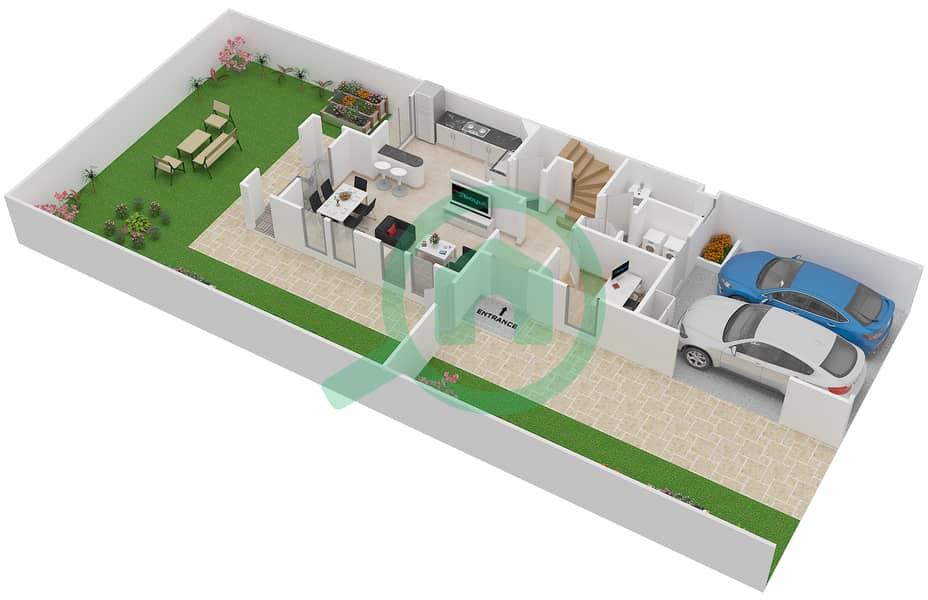 المخططات الطابقية لتصميم النموذج 4E فیلا 2 غرفة نوم - الينابيع 10 Ground Floor image3D