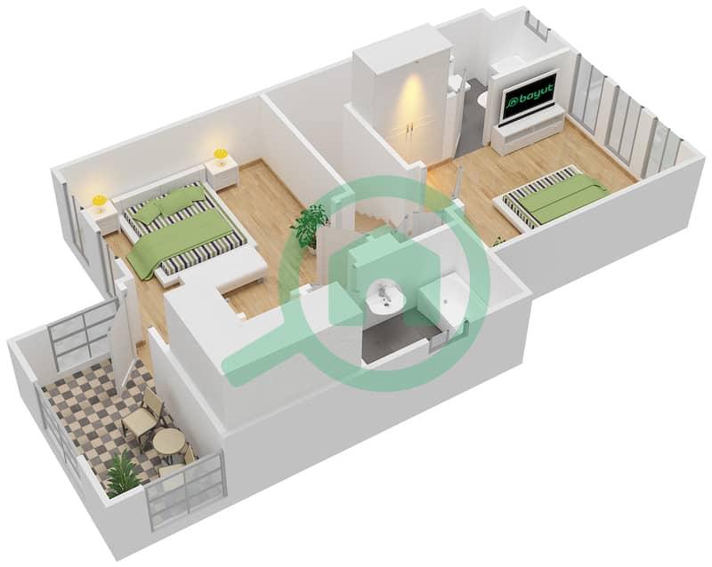 المخططات الطابقية لتصميم النموذج 4E فیلا 2 غرفة نوم - الينابيع 10 First Floor image3D
