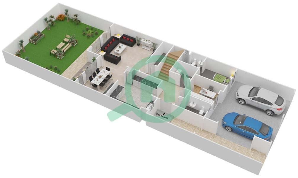 المخططات الطابقية لتصميم النموذج 2M فیلا 3 غرف نوم - الينابيع 10 Ground Floor image3D