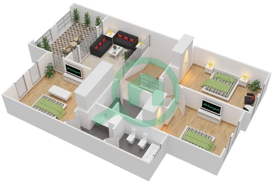 المخططات الطابقية لتصميم النموذج 2M فیلا 3 غرف نوم - الينابيع 10 First Floor image3D