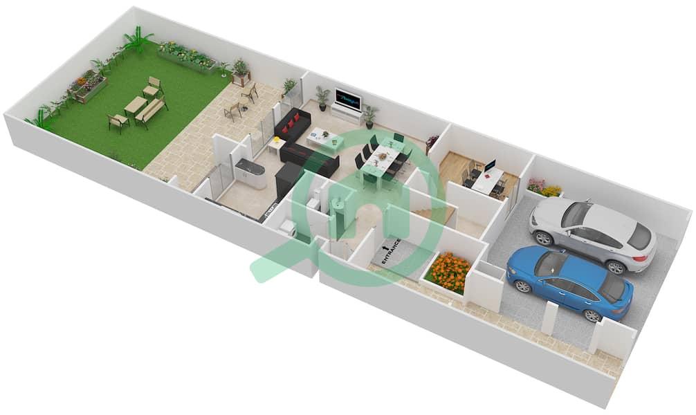 المخططات الطابقية لتصميم النموذج 3M فیلا 3 غرف نوم - الينابيع 10 Ground Floor image3D
