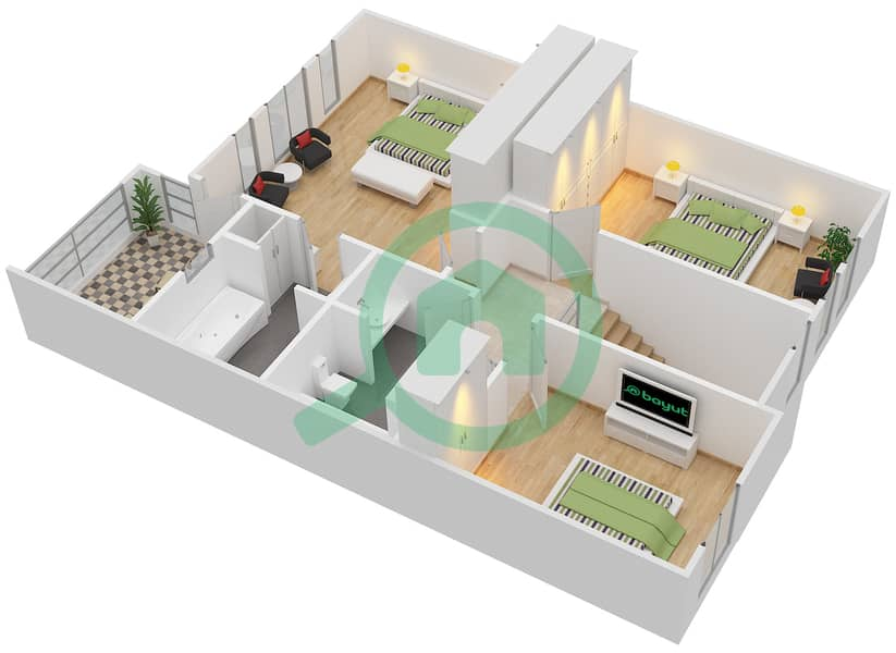 المخططات الطابقية لتصميم النموذج 3M فیلا 3 غرف نوم - الينابيع 10 First Floor image3D