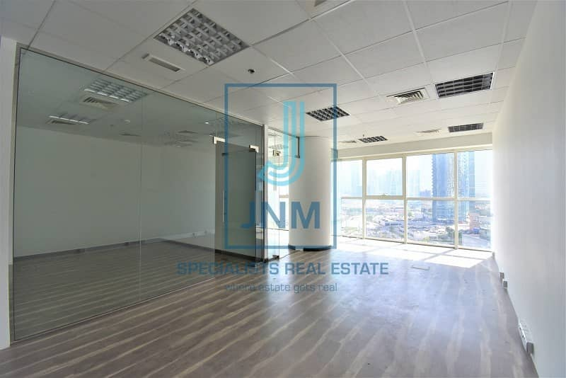 Elegant fitted office with glass partitions