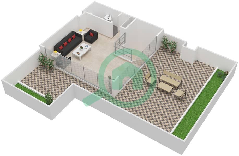 المخططات الطابقية لتصميم النموذج / الوحدة 5B/15 شقة 2 غرفة نوم - شايستا عزيزي Upper Floor-Roof Floor image3D
