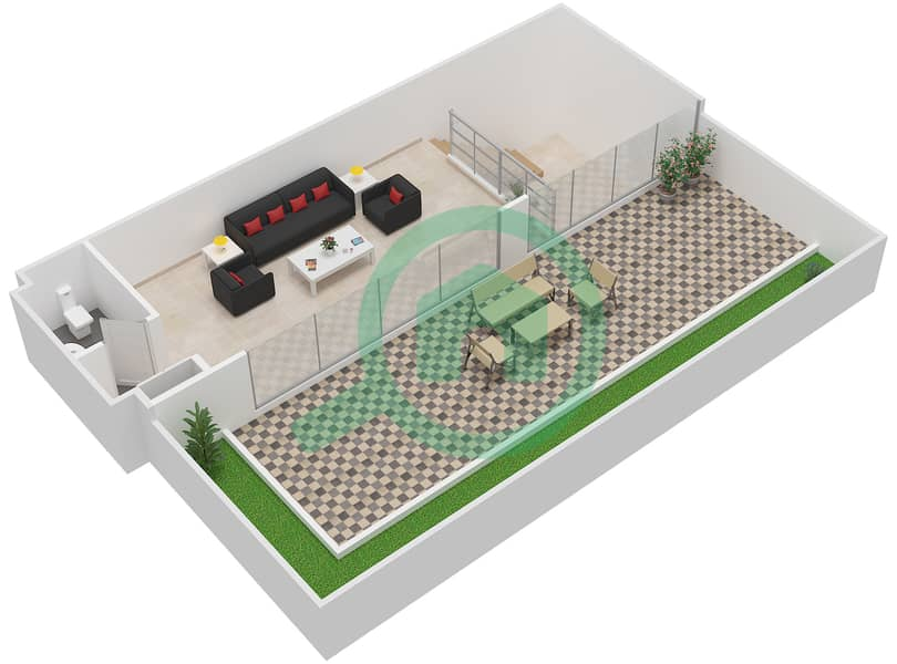 المخططات الطابقية لتصميم النموذج / الوحدة 6B /16 شقة 2 غرفة نوم - شايستا عزيزي Upper Floor-Roof Floor image3D