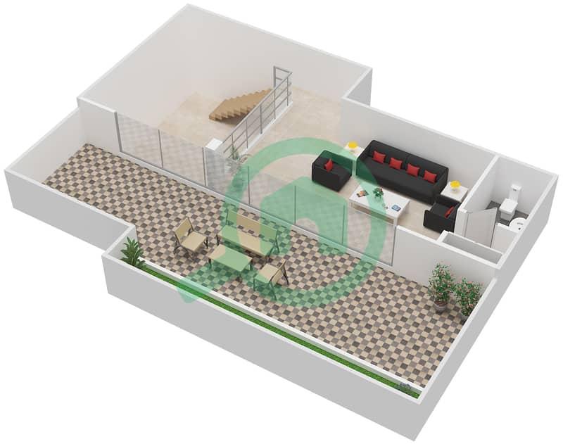 المخططات الطابقية لتصميم النموذج / الوحدة 5B/07 شقة 2 غرفة نوم - شايستا عزيزي Upper Floor-Roof Floor image3D