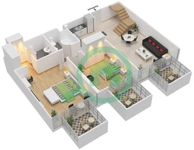 المخططات الطابقية لتصميم النموذج / الوحدة 6B/12 شقة 2 غرفة نوم - شايستا عزيزي