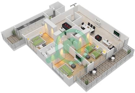 المخططات الطابقية لتصميم النموذج B شقة 3 غرف نوم - برج قيصر