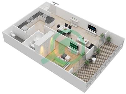 المخططات الطابقية لتصميم النموذج B شقة 1 غرفة نوم - برج قيصر