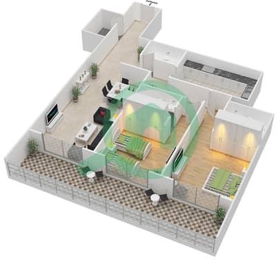 المخططات الطابقية لتصميم النموذج D شقة 2 غرفة نوم - برج قيصر