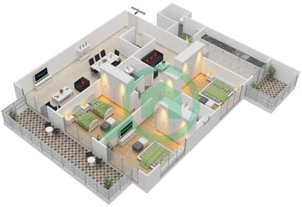 المخططات الطابقية لتصميم النموذج A شقة 3 غرف نوم - برج قيصر