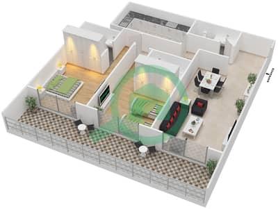 المخططات الطابقية لتصميم النموذج C شقة 2 غرفة نوم - برج قيصر