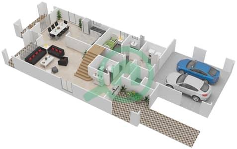 المخططات الطابقية لتصميم النموذج 1 فیلا 3 غرف نوم - کاسا