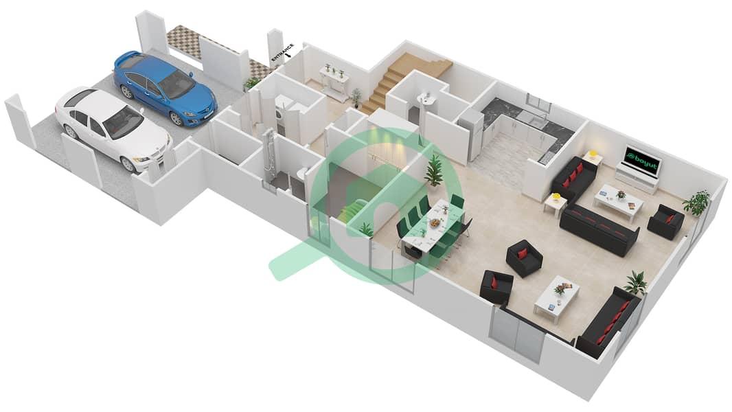 المخططات الطابقية لتصميم النموذج 2 فیلا 3 غرف نوم - کاسا Ground Floor image3D