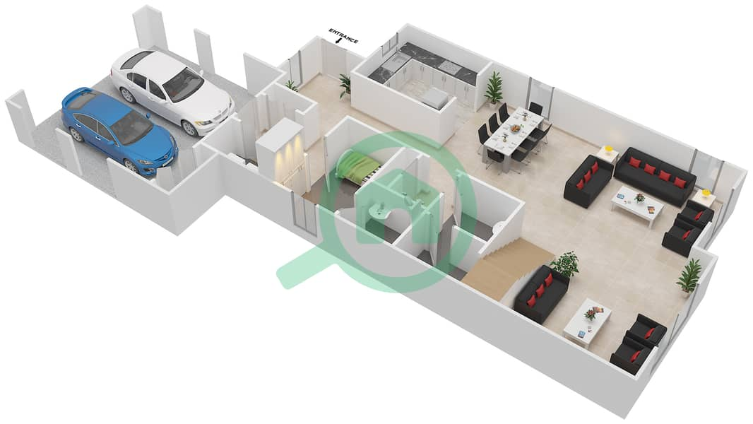 المخططات الطابقية لتصميم النموذج 3 فیلا 4 غرف نوم - کاسا Ground Floor image3D