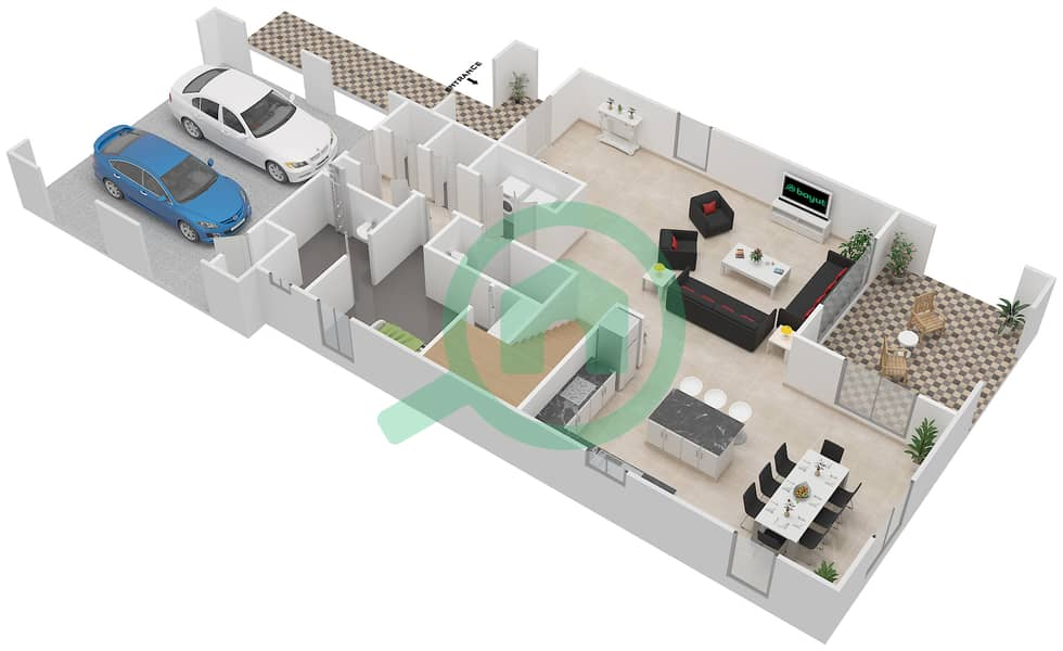 المخططات الطابقية لتصميم النموذج 4 فیلا 4 غرف نوم - کاسا Ground Floor image3D