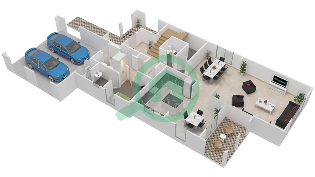 المخططات الطابقية لتصميم النموذج 5 فیلا 4 غرف نوم - کاسا Ground Floor image3D