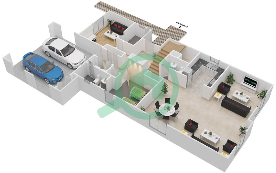 المخططات الطابقية لتصميم النموذج 6 فیلا 4 غرف نوم - کاسا Ground Floor image3D