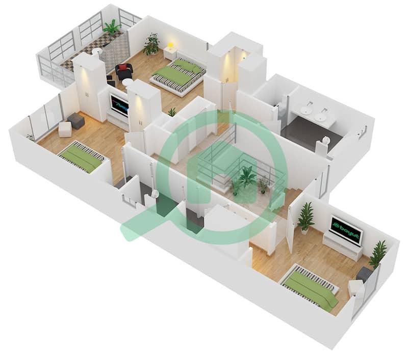 Casa - 3 Bedroom Villa Type 1 Floor plan First Floor image3D