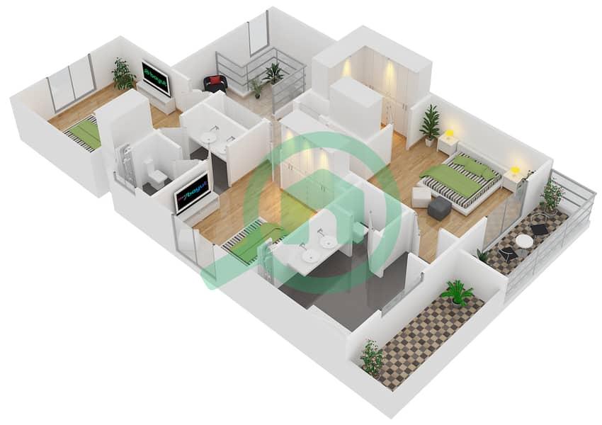 المخططات الطابقية لتصميم النموذج 2 فیلا 3 غرف نوم - کاسا First Floor image3D