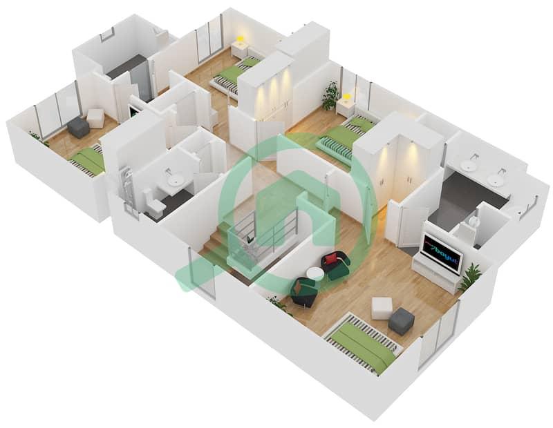 المخططات الطابقية لتصميم النموذج 3 فیلا 4 غرف نوم - کاسا First Floor image3D