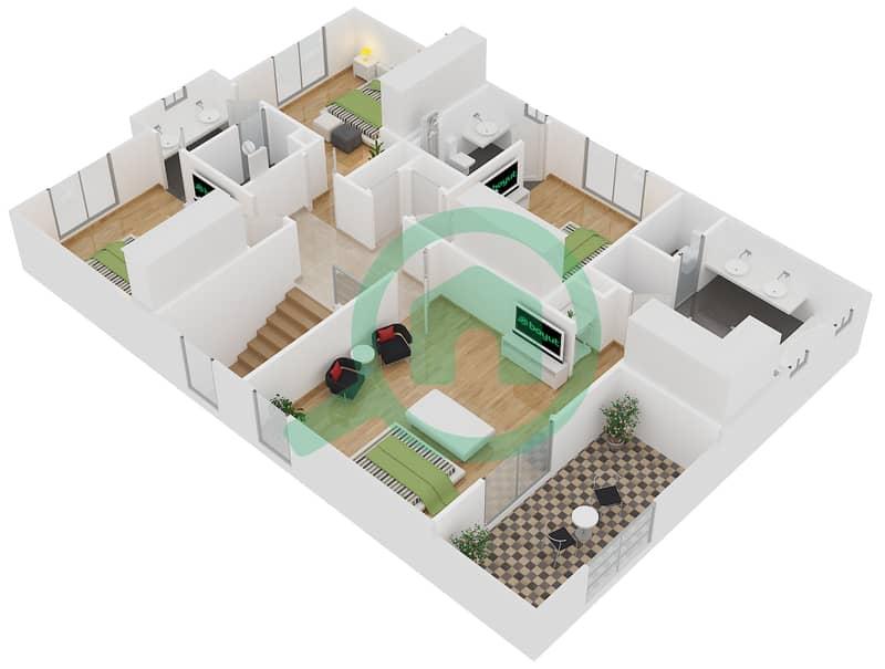 المخططات الطابقية لتصميم النموذج 4 فیلا 4 غرف نوم - کاسا First Floor image3D