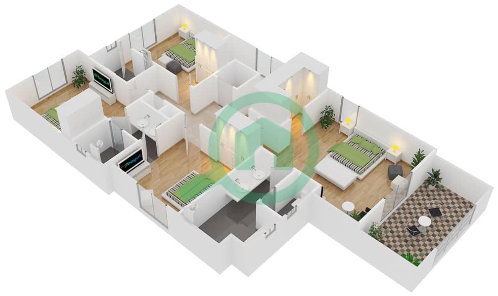 المخططات الطابقية لتصميم النموذج 5 فیلا 4 غرف نوم - کاسا First Floor image3D