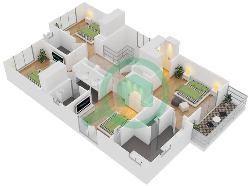 المخططات الطابقية لتصميم النموذج 6 فیلا 4 غرف نوم - کاسا First Floor image3D