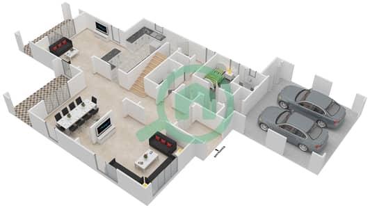 المخططات الطابقية لتصميم النموذج 1 فیلا 4 غرف نوم - روزا