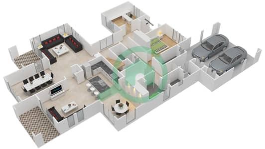 المخططات الطابقية لتصميم النموذج 4 فیلا 5 غرف نوم - روزا