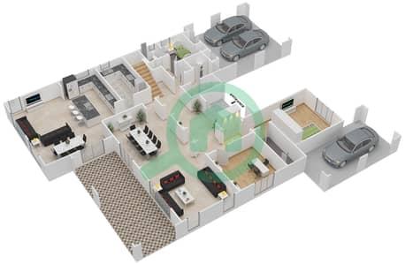 المخططات الطابقية لتصميم النموذج 5 فیلا 6 غرف نوم - روزا